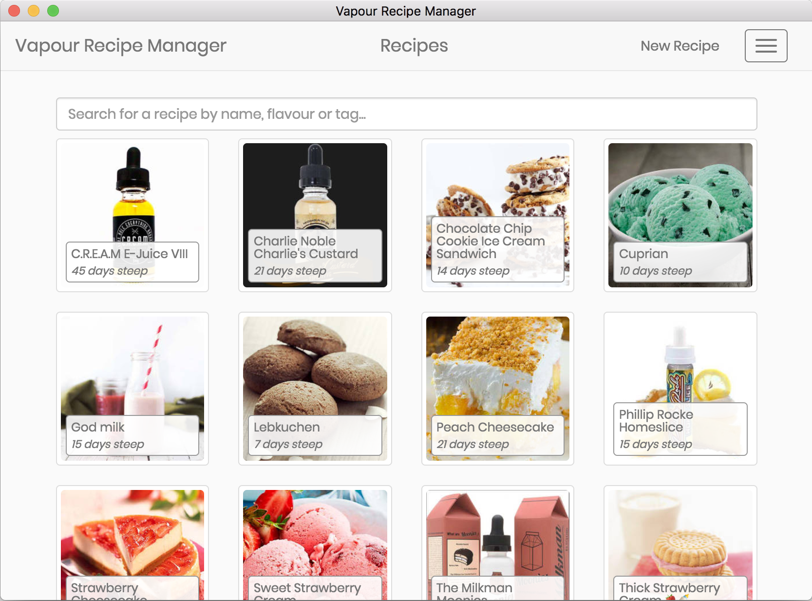 Vapour Recipe Manager